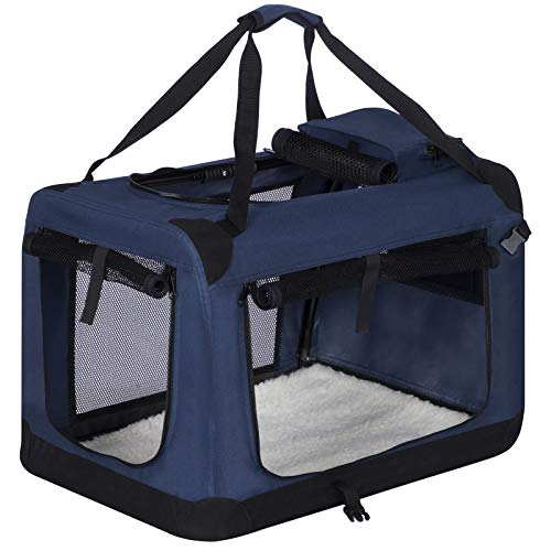 EUGAD Hundebox faltbar Hundetransportbox Auto Transportbox Reisebox Katzenbox Klassisch Blau 0315HT