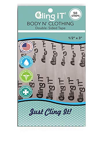 Cling IT² Double Sided Clothing Tape and Body Tape for Securing Fabric and Dresses - Transparent for All Skin Tones - 50 Count - Medical Grade, Hypoallergenic, Made in the USA