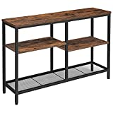 HOOBRO Industrial Sofa Table, Console Table with Shelves, 4-Tier Industrial Hallway Entrance Table for Living Room, Entryway, Corridor, Wood Look Accent Table, Easy Assembly, Rustic Brown BF28XG01