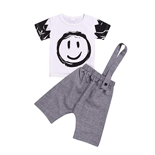 Puseky Unisexe Enfants Smile Face Imprimer T-Shirt à Manches Courtes + Combinaison Solide Combinaison Simple Sangle Combinaisons Outfits Set (Color : White+Grey, Size : 2Y-3Y)