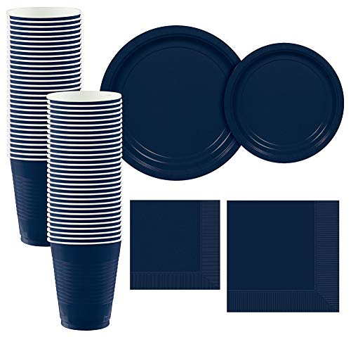 Party City True Navy Paper Tableware Supplies for 50 Guests, Include 2 Sizes of Plates, 2 Sizes of Napkins, and Cups