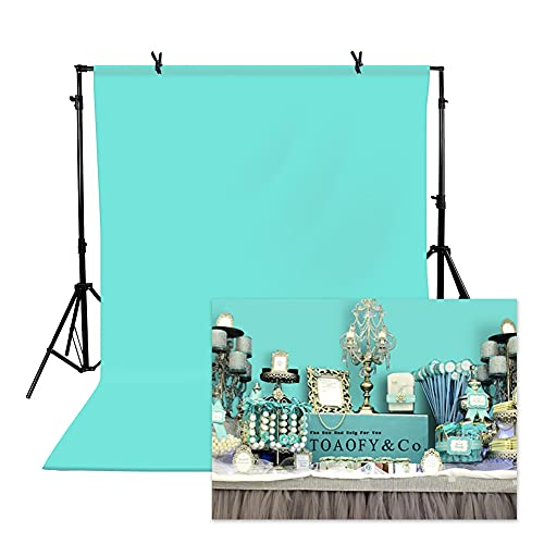 TOAOFY 5x7ft TifnyBlue Photo Backdrop Light Blue Background Backdrop Pure Muslin Photographic Studio Photo Backgrounds for Photography Video and Television TAY006