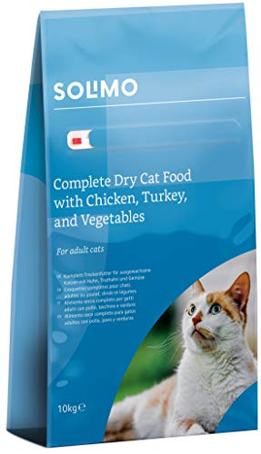 Amazon-Marke: Solimo - Komplett-Trockenfutter für erwachsene Katzen mit Huhn, Truthahn und Gemüse, 1er Pack (1 x 10 kg)