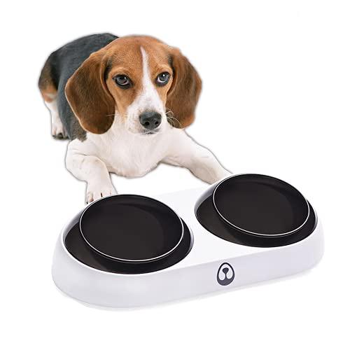 BIGNADO Futternapf für Katzen und Hunde, erhöht, 15 Grad Neigungswinkel, erhöhter Futternapf mit Doppelnäpfen, rutschfest, auslaufsicher, für Katzen und Hunde