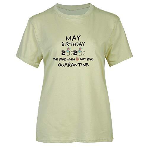 Neihan, maglietta a maniche corte, da donna, alla moda, con stampa di quarantena, con scollo rotondo GR-M. M