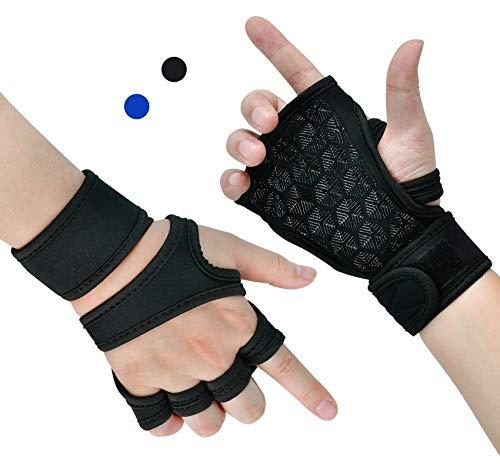 Trainingshandschuhe,Fitness Handschuhe Atmungsaktive rutschfeste,Handschuhe mit Handgelenkstütze,für Krafttraining, Cross-Training und Klimmzüge für Männer und Frauen verwendet. (schwarz, L)