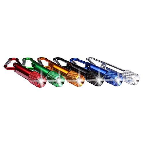 Schramm® Llavero de Aluminio de 6 con mosquetón Mini Linterna de Leds