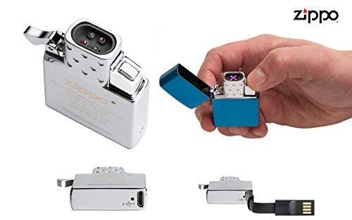 Zippo (Elektro) ARC Einsatz mit USB Anschluss -Doppel-Plasma-Strom - Passt in alle herkömmlichen Zippo Feuerzeughüllen inkl. Ladekabel