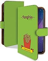 AQUOS sense4 SH-41A ケース 手帳型 携帯ケース フライドポテト シンプル 緑 おもしろ 緑 おしゃれ アクオス センス スマホケース aquossense4 sh41a フード 食べ物 カメラレンズ全面保護 カード収納付き 全機種対応 t0849-00889