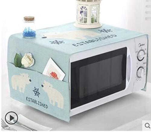 Gouen Housse de Protection pour Micro-Ondes en Coton et Lin avec étui Cuisine Poussière d'huile Étanche Double Poches Accessoires de Cuisine, H, 100CM X 35CM