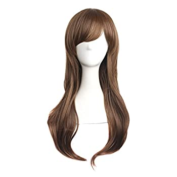 MapofBeauty 28  70cm Long Curly Hair Ends Costume Cosplay Wig  Brown Camel