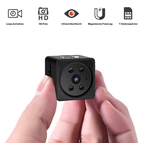 Mini Kamera, Tyhbelle Überwachungskamera Full HD 1080P Mini Cam mit Nachtsicht für Indoor/Baby/Nanny/Haustier Cam (A7-Schwarz)
