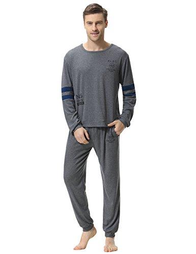 Aibrou Herren Schlafanzug Pyjama Baumwolle Lang Zweiteilig Nachtwäsche Set Langarm Rundhals Dunkelgrau M