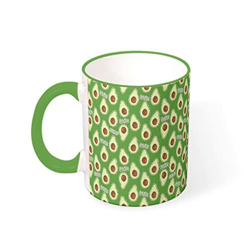 O3XEQ-8 11 Unze Avocado Wasser Kaffee Becher mit Griff Keramik Neuheit Becher - Früchte und Gemüse Mädchen Frauen, Wohnheim verwenden Irish Green 330ml