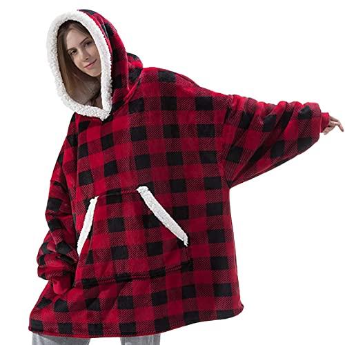 Übergroße Hoodie Sweatshirt Decke Original Tragbare Decke Super Weiche Warme komfortable Sherpa Riesen Hoodie Gemütliche Geeignet Kuschel Kapuzenpullover für Erwachsene Herren Damen Jugendliche