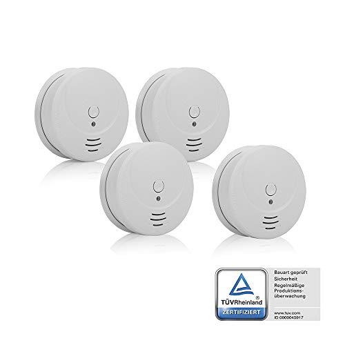 Detectores de humo Smartwares RM149/4 - Pack de 4 detectores - Batería incluida - Botón de prueba - 85dB