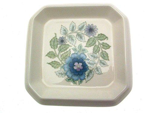 Wedgwood Clementine Flower Pot sous Assiette ou Petit carré – Bleu Fleurs en Blanc – wwcl10