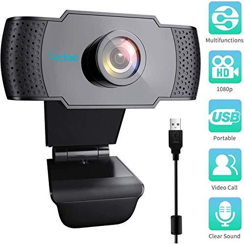 vcloo 1080P Webcam HD mit Mikrofon USB 2.0-Breitbild-PC-Kamera Autofokus Computerkamera für Computer Desktop Laptop MacBook für Videoanrufe,Online-Unterricht, Spiele, Live-Streaming und Konferenzen