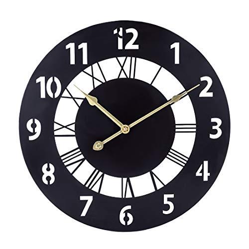 TETAKE Reloj de Pared Negro Metal 40 cm Vintage Reloj de Pared silencioso sin Ruido de Tic-TAC, para salón, Cocina, Oficina, Dormitorio