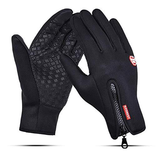 Windundurchlässiges Touch Screen Laufhandschuhe Männer Frauen Winter-Vlies-Thermische Warme Sport-Handschuhe Anti-Rutsch-Radfahren Außen Handschuhe-A164-Schwarz-L