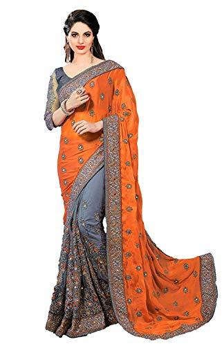 VintFlea VintFlea Bollywood Designer Party Wear Frauen schwere Stickerei Arbeit Satin Chiffon Net Saree