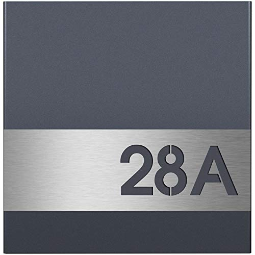 MOCAVI ZBox 111 Zaunbriefkasten mit Hausnummer anthrazit-edelstahl ral7016 Zaunmontage Entnahme hinten Designer-Postkasten