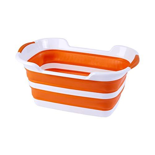 Unbekannt Platzsparer-Wäschewanne, Wäschekorb, Wäschesammler, faltbar, Kunststoff, 60 x 40 x 27,5 cm, Zusammengeklappt 60 x 40 x 7 cm, orange, weiß