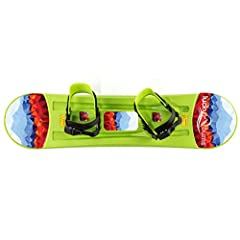 PERFECT FOR BEGINNERS - Great choice to introduce kids to snowboarding in backyard or on nearby sledding hill. SMOOTH BOTTOM - Board has traditional snowboard cut, with glossy bottom and gentle edges. RUGGED DESIGN - Includes pre-mounted adjustable b...