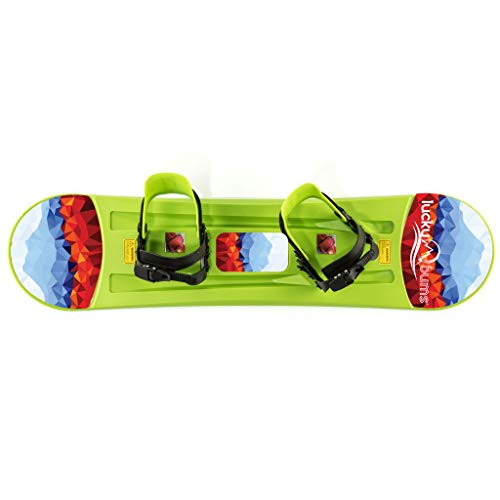 Lucky Bums Kids Boys Girls Youth Training Plastic Snowboard, 95cm, Green
