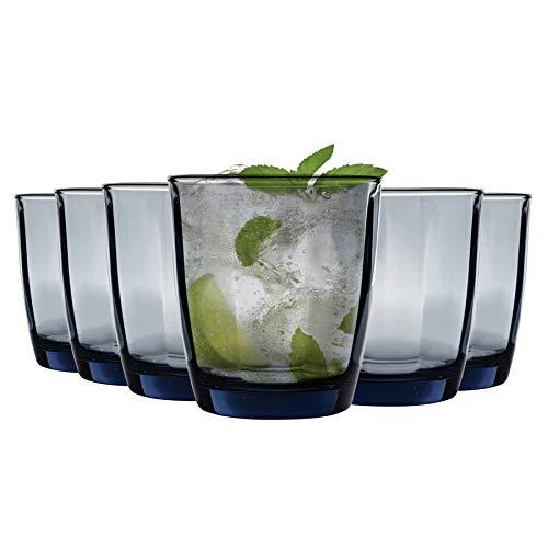 Bormioli Rocco boire en verre Pulsar Facettes Gobelets - Ocean Blue - 300ml - Paquet de 6