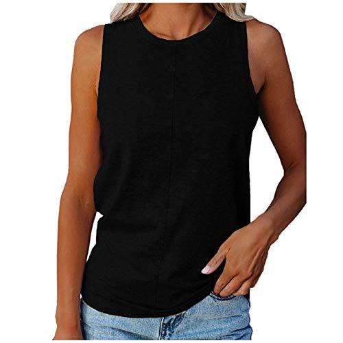 Women's Summer Casual V Neck Chiffon Vest Top Sleeveless Cami Ladies Solid Color Shirt Comfortable Cross Versatile Hem Tanktop Blouse (A-Black, L)