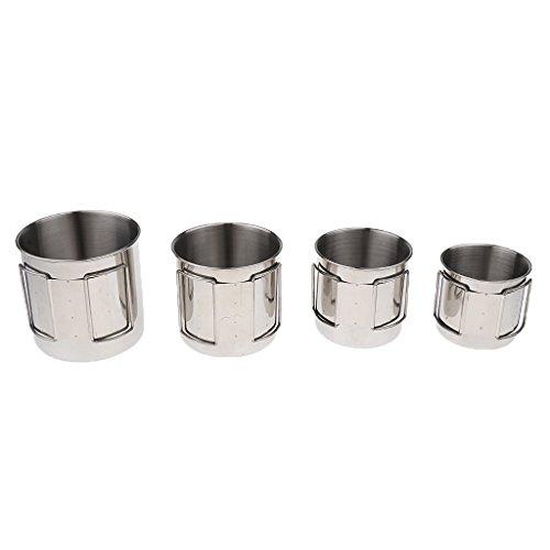 Hellery Tazas de Café del Agua de Las Tazas Plegables del Acero Inoxidable 4pcs con La Bolsa Que Acampa Al Aire Libre