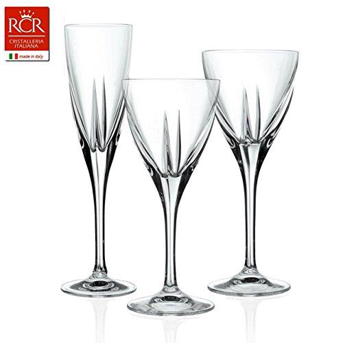 Juego 18Piezas (6copas–6copas agua–6copas vino) Copas cristal fusion RCR Made in Italy