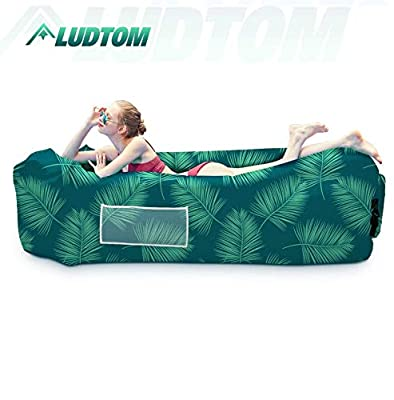 LUDTOM Inflatable Lounger Air Sofa Hammock, Portable Waterproof Anti-Air Leaking Pouch Couch Air Chair, Camping Compression Sacks for Traveling, Beach, Picnics, Hiking, Pool and Festival (Green Leaf)
