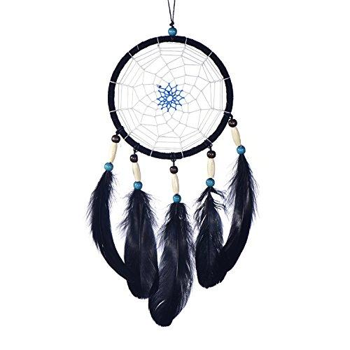 Traumfänger für gute Träume mit Perlen und echten Federn schwarz Ø 14 cm