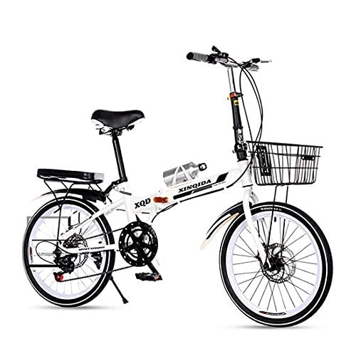 Bicicletas Plegables Bicicletas Plegables De 20 Pulgadas, Estudiantes Adultos Masculinos Y Femeninos, Adultos Van Al Trabajo Y Montan Una Bicicleta Pequeña con Un Baúl Portátil (Color: Azul)