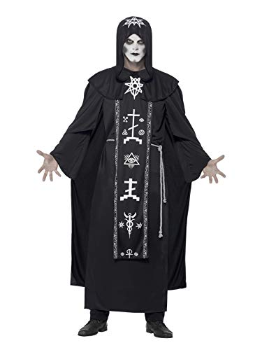 Smiffys-45571 Disfraz de Ritual de Las Artes oscuras, con túnica con Capucha y cinturón, Color Negro, Tamaño único (Smiffy'S 45571)