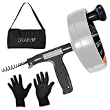 Drainx Pro 50-FT Heavy Duty Steel Drum Drain Auger Plumbing Snake with Work Gloves and Storage Bag