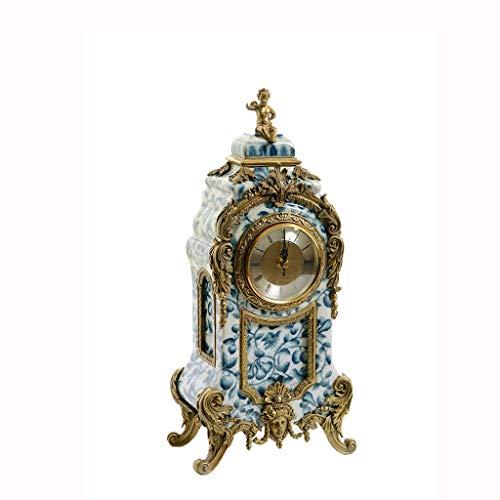 Hong Yi Fei-Shop Elegante Reloj de Mesa Casa Sala de Estar Reloj Azul y Blanco Atmósfera de Porcelana Arte Reloj Reloj de Reloj Reloj de Reloj Reloj de Escritorio