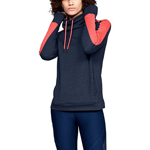 Under Armour - Polaire col cheminée Featherweight - Pour femme, Femme, Manches longues, Under Armour Women's Featherweight Fleece Funnel Neck, Academy Medium Heath (408)/After Burn, Small