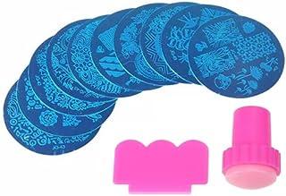 Nyamah Sales Women and Girls Nail Art Stamping Kit 1 pcs Random Round Steel Image Plates and 1 pcs Pink Stamper & Scraper ...