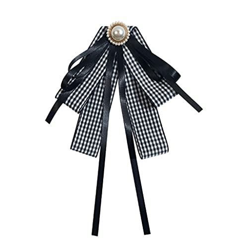 PHILSP Mujeres Capas Pajarita Broche Vintage Plaid Imprimir Perla Imitación Bowknot Camisa Collar Negro+Blanco