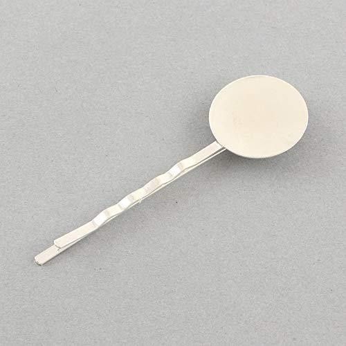 PandaHall 10 pcs Fer Cheveux épingle à Cheveux avec Lunette cabochon Ronde Plate de 8 mm Pinces à Cheveux Bricolage Pinces à Cheveux Barrettes pour Femme argenterie