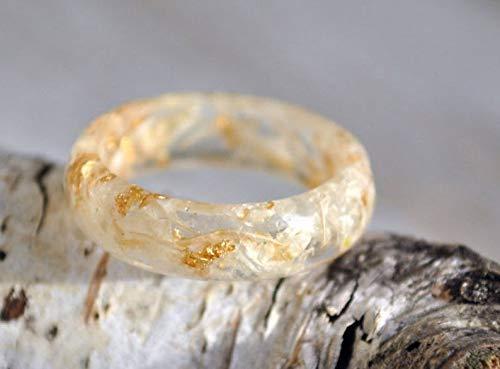Resin Jewelry Bohemian Ring Nature Engagement Ring Pressed Flower Ring Botanical Ring White Flower Ring Gift under 30 Girlfriend Gift