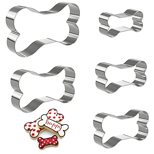 Hibery 5 Pcs Dog Bone Cookie Cutters, Dog Treats Cookie Cutter, Dog Bone Shapes Biscuit Stainless Steel Metal Cookie Cutters for Baking, Holiday Birthday Party Baking