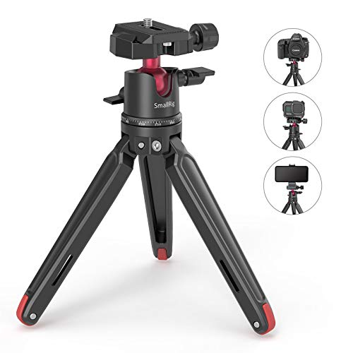 SMALLRIG Mini Tripod for Camera, Updated Desktop Tabletop Tripod with Arca-Type Compatible QR Plate, 360° Ball Head and 1/4 and 3/8 Screws Portable for Compact Cameras DSLRs, Phone, Gopro - BUT2664