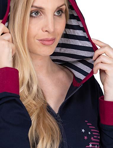 maluuna - Damen Jumpsuit, Onesie, Overall, Einteiler mit Bündchen an Arm- und Beinabschluss aus 100% Baumwolle, Farbe:Navy, Größe:40/42 - 5