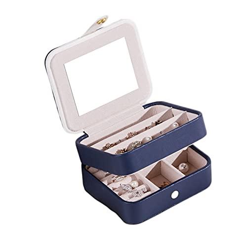 Grafts - Joyero con dos estantes, almacenamiento para joyas de viaje, pequeño joyero de viaje, estuche para mujer (azul)