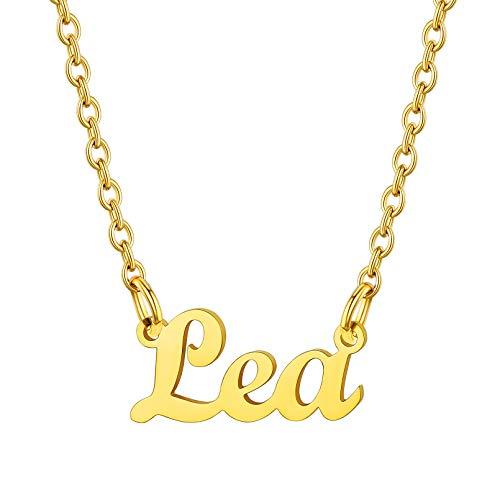 Custom4U Namenskette aus Edelstahl für Lea in Klassische Schrifte 18K Vergoldet Carrie Stil Kette 45cm+5cm für Freundin, Mutter, Schwester