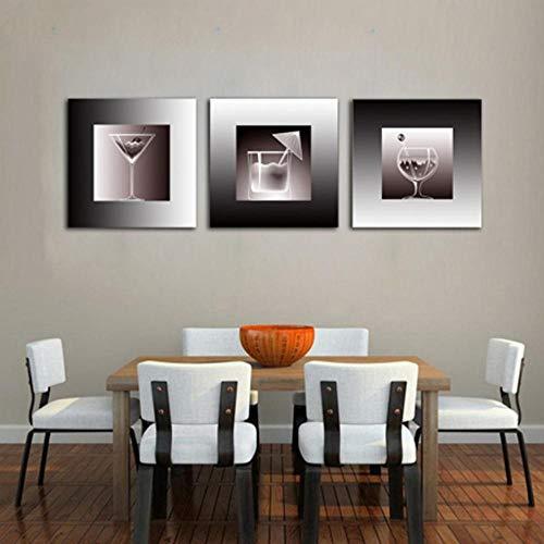 Wandbilder Leinwand,3 Stück Malerei Saft Und Wein Küche Hintergrundbild Moderne Dekoration Poster Ohne Rahmen